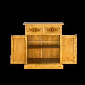 Credenza bassa in legno di teak con ante e cassetti intagliati
