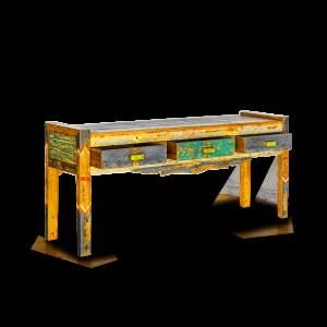 Consolle in legno di teak recuperato da barche