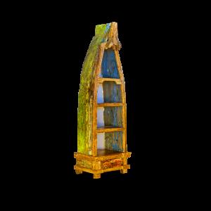 Libreria in legno di teak ricavata da barca di pescatori