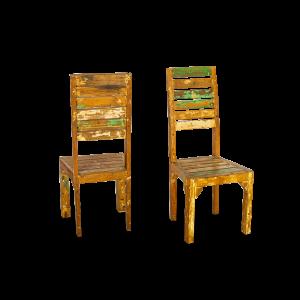 Sedia schienale alto in legno di teak recuperato dalle vecchie barche