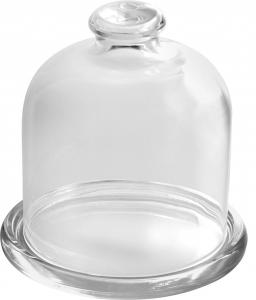 Piattino in vetro trasparente con cupola in vetro trasparente