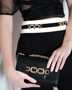 Pantalone Skinny Bicolor Accessorio Morsetto Elisabetta Franchi SS21