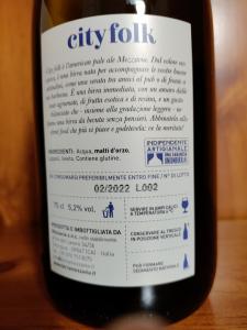 City Folk American Pale Ale Birra Artigianale Birrificio Mezzavia cl.75