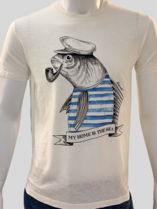 SHOPPING ON LINE HIDEOUT T-SHIRT BLUE FISH NEW COLLECTION SPRING/SUMMER 2021