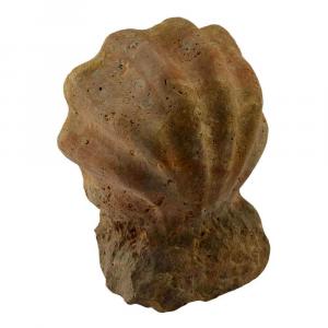 Acquasantiera portaoggetti in marmo Travertino Soleado scolpito a mano
