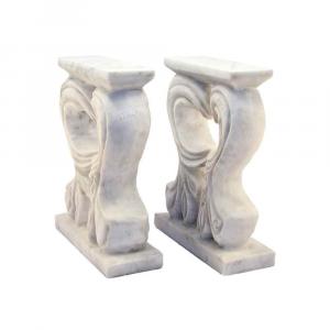 Basi floreali in marmo Bianco Carrara e Nero Marquinia per per tavolino
