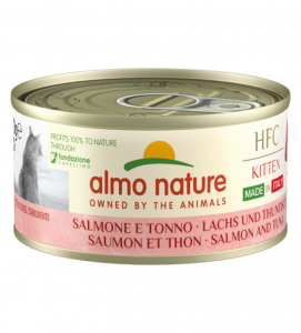 Almo Nature - HFC Cat - Kitten - Complete - Made in Italy - Salmone e Tonno - 70g x 12 lattine