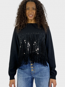 SHOPPING ON LINE PINKO MAGLIONE IN COTONE E PAILLETTES SNOWBARD NEW  COLLECTION  WOMEN'S  SPRING  SUMMER 2021