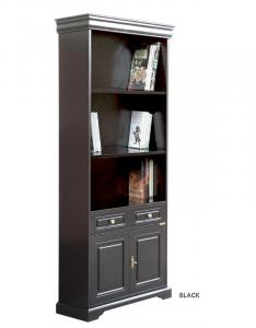 2-door black lacquered bookcase