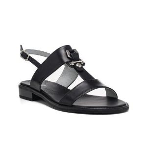 Sandalo pelle con accessorio