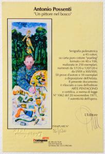 Possenti Antonio Serigrafia Un pittore nel bosco Formato cm 100x40