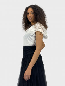 SHOPPING ON LINE TWINSET MILANO T-SHIRT CON MANICHE IN PIZZO  NEW COLLECTION WOMEN'S SPRING SUMMER 2021