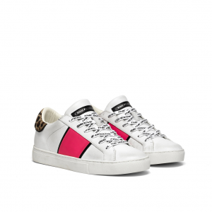 Sneaker bianca con banda fuxia Crime London