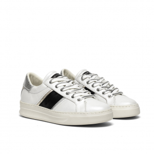 Sneaker bianca con banda nera Crime London