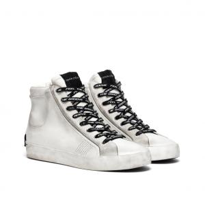 Sneaker alta bianca effetto vintage Crime London