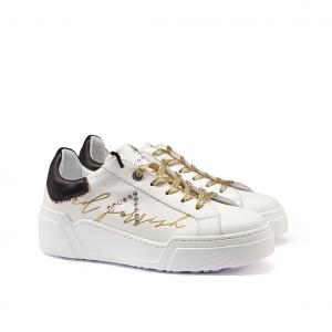 Sneaker bianca/nera/oro Ed Parrish