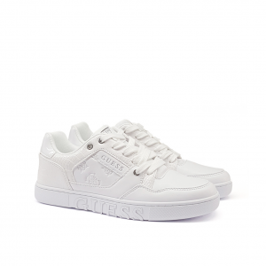 Sneaker bianca con inserti cocco Guess