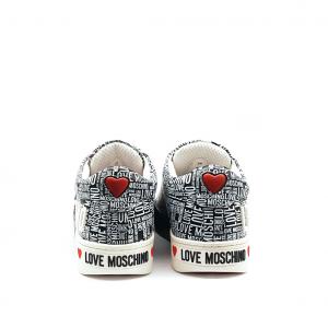 Sneaker bianca con logo all over Love Moschino