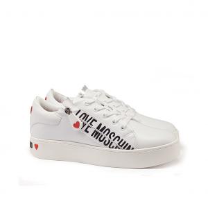 Sneaker bianca con zip Love Moschino