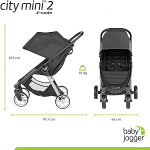 City Mini2 4 ruote Slate + PARAPIOGGIA OMAGGIO