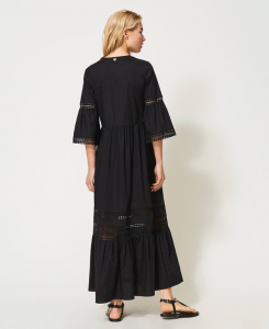 SHOPPING ON LINE TWINSET MILANO  ABITO LUNGO IN POPELINE CON PIZZO NEW COLLECTION WOMEN'S SPRING SUMMER 2021