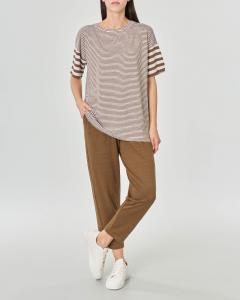 T-shirt over in lino a righe bianche e tabacco con maniche corte