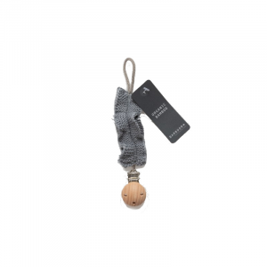 Portaciuccio con clip in legno Bamboom Dark Grey