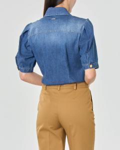 Camicia in denim di cotone stretch con maniche corte a sbuffo