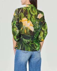 Blusa a portafoglio in georgette a stampa motivo jungle con scollo a rever