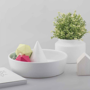 Portaoggetti centrotavola portafrutta Sombrero B in ceramica bianca