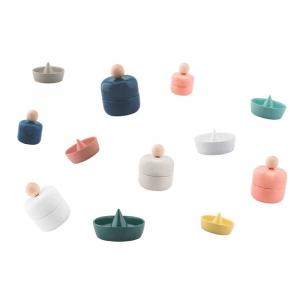 Portaoggetti centrotavola portafrutta Ring in ceramica bianca