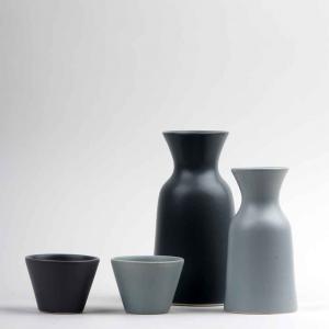 Vaso caraffa 0,5L in ceramica opaca grigia made in Faenza
