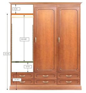 Schrank 3 Türen 6 Schubkästen