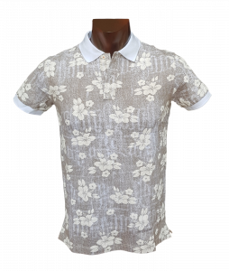 T-shirt Polo Maglietta uomo colletto a 2 bottoni in Cotone FERRUCCI - EUCALIPTO