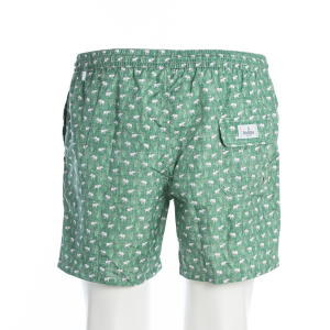 Boxer Mare Barba Beachwear Verde Fantasia Elefanti
