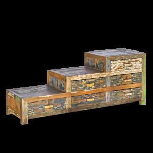 Cassettiera a scaletta in legno di teak recuperato