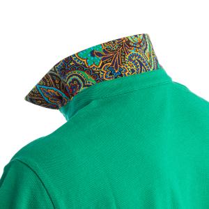 Polo Manica Corta Etro Verde Sottocollo Fantasia Paisley