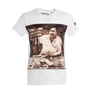 T-Shirt Bastille Bianca Stampa Escobar