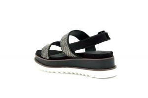 Sandalo in tessuto con strass