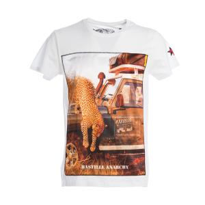 T-Shirt Bastille Bianco Stampa Ghepardo