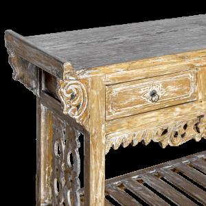 Consolle con 2 cassetti in legno di teak decapata