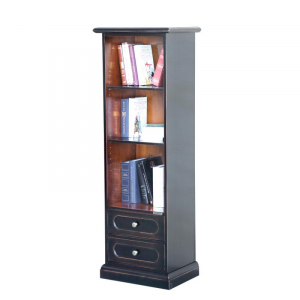 Space saving two-colours bookcase with 2 drawers