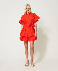 SHOPPING ON LINE TWINSET MILANO  ABITO IN POPELINE CON VOLANT NEW COLLECTION WOMEN'S SPRING SUMMER 2021