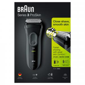 Braun Series 3 ProSkin 3000s Rasoio Elettrico, Nero