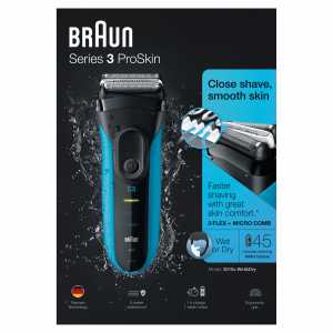 Braun Series 3 ProSkin 3010s Rasoio Elettrico, Nero/Blu