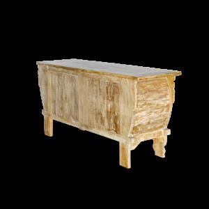 Buffet in legno di teak decapato white con intagli balinesi