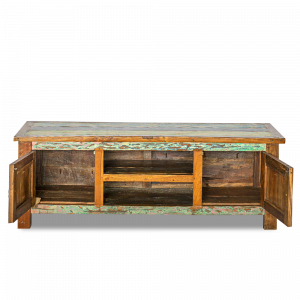 Porta tv in legno di teak indonesiano recuperato dalle vecchie barche