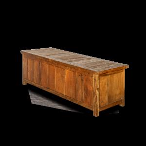 Porta TV in legno di teak recycle con 4 ante intagliate e 2 ripiani