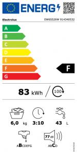 Electrolux EW6S526W lavatrice Libera installazione Caricamento frontale 6 kg 1200 Giri/min F Bianco