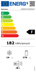 Electrolux LFB3AF12S monoporta Da incasso 187 L F Bianco